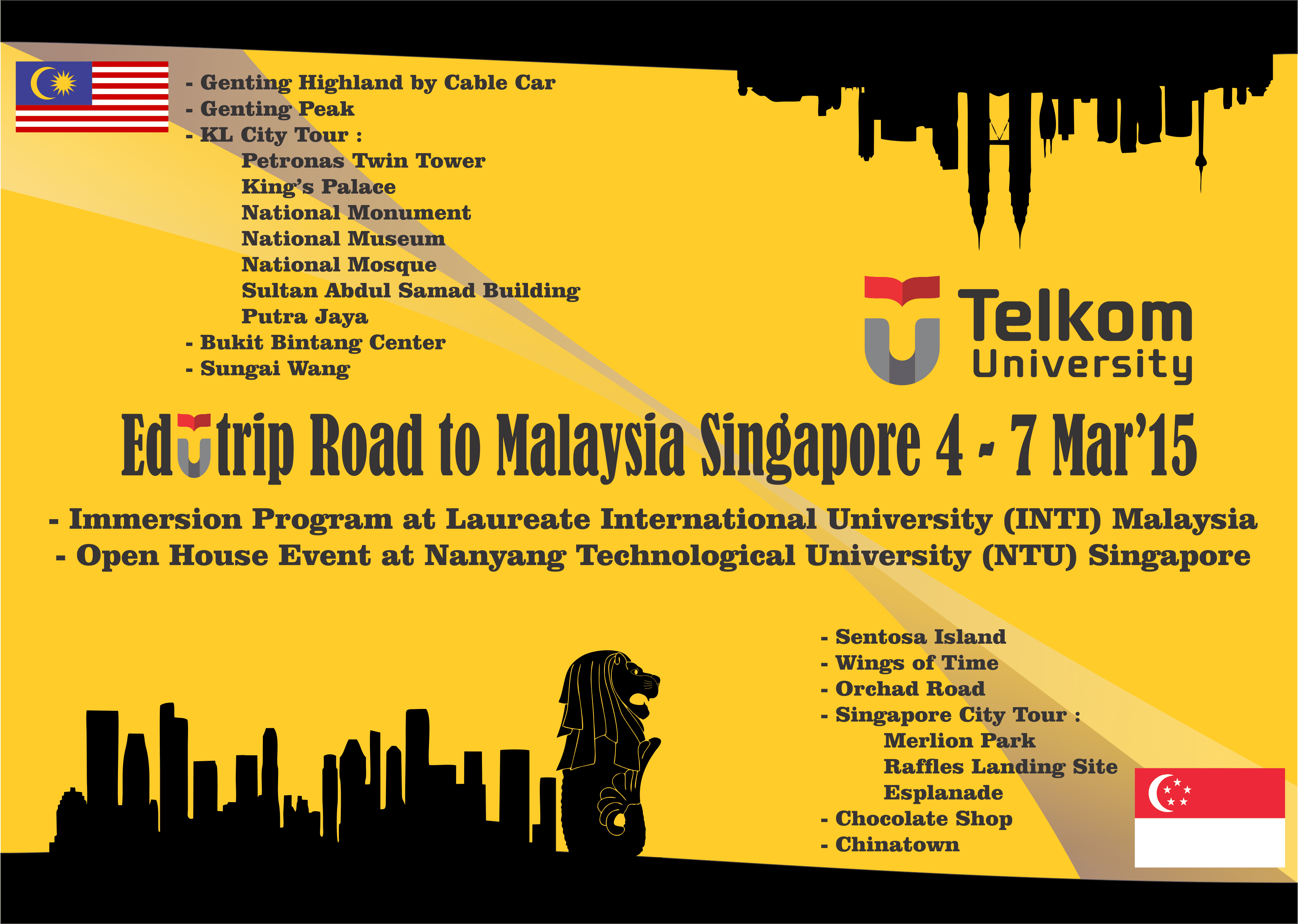 Itinerary of Edutrip Road to Malaysia Singapore on March 2015